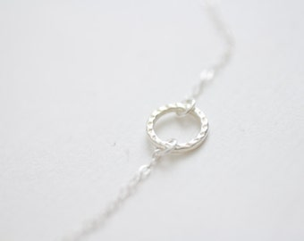 Silver hammered eternity ring circle necklace - simple sterling silver jewelry