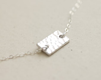 Silver hammered rectangular disc necklace - sterling silver chain - simple everyday jewelry