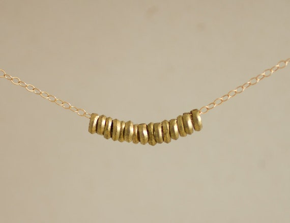 African metal heishi trade beads gold filled necklace - simple modern jewelry