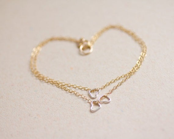 Petite sterling silver hearts layered gold filled chain bracelet - delicate modern jewelry - valentine's day jewelry