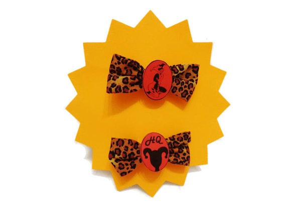 Harley Quinn cameo leopard hair bow set of 2