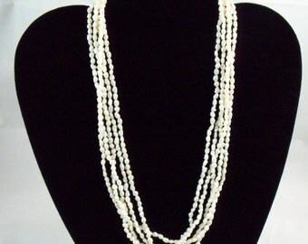 Vintage 5 strand  Real Fresh Water Pearl Necklace