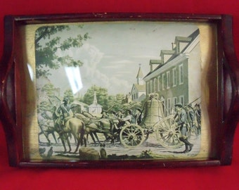 """Vintage Wooden Tray With """"Bingham"""" Print Under Glass"""