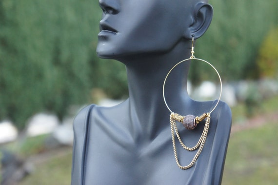 Egyptian Queen - Light Weight Handmade Gold Plated Hoop with Gold Chains