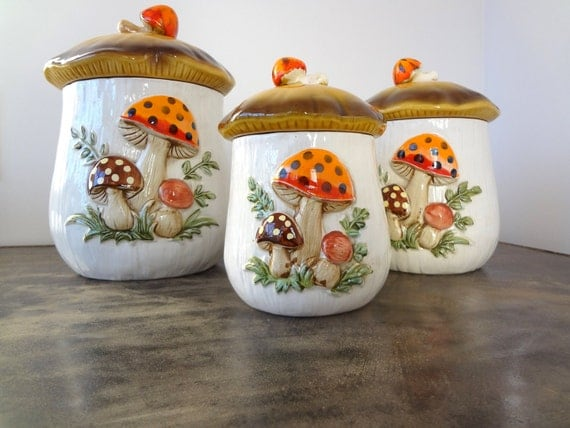 Vintage Set of Three Mushroom Canisters - Sears 1970's