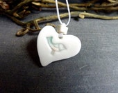 Sweet Birdie Heart -  Heart Shaped Porcelain Pendant