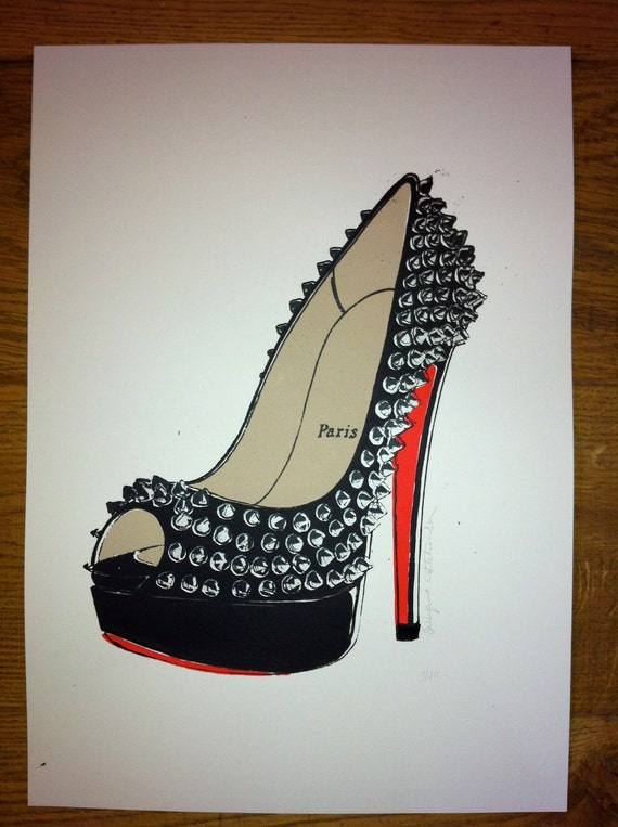 Original Silk screen print of Christian Louboutin Very Prive Studs -signed and numbered