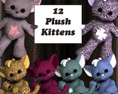 12 Plush Kitten Digital Clip Art for Scrapbooking, Card Making and More - Toy Cuddly Stuffed Cats Kitties