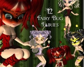 Fairy Bugs Digital Clip Art  - 12 Cute Toon Pictures for Scrapbooking, Card Making, Decoupage - Instant Download