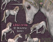 Unicorn Clip Art - Digital Clipart for Scrapbooking, Birthday Card Making and More 12 fantasy images