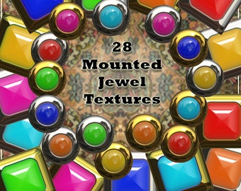 Mounted Jewels Digital Clip Art -  Card Making Accents, Scrapbooking Images, Instant Download