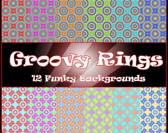 Digital Paper Groovy Rings 12 Funky Printable Backgrounds for Scrapbooking Birthday Card Making Wrapping Paper Origami & Other Crafts