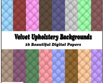 Velvet Upholstery Digital Papers - 16 Printable Backgrounds for Scrapbooking, Birthday Card Making & More