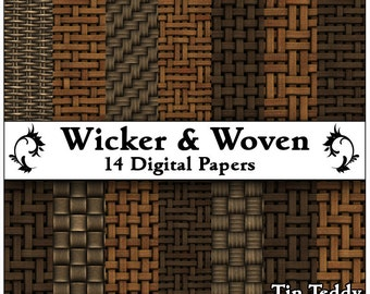 Wicker Woven Papers - 14 Cane and Rush Digital Printable Backgrounds - Versatile for Scrapbooking, Birthday Card Making & More