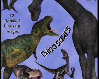 Dinosaurs Digital Clip Art - 12 Prehistoric Images for Scrapbooking, Birthday Card Making and Other Monster Crafts Instant Download