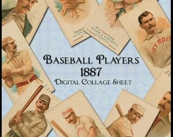 Baseball Players 1887 - Vintage Digital Collage Sheet - Instant Download - Baseballers