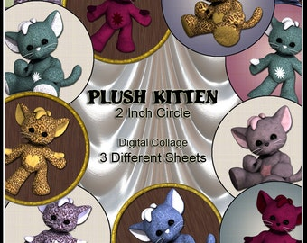 Plush Kittens Digital Collage Sheet x 3 - 2 inch pussy cat circles for cupcake toppers tags bottle top jewelry Instant Download