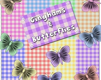 Ginghams and Butterflies - Digital Printable Papers and Embellishments for Scrapbooking, Birthday Card Making, Baby Projects & More