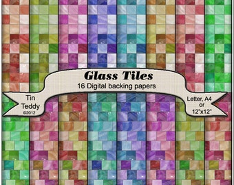 Glass Tile Digital Papers 16 Printable Backgrounds for Scrapbooking Instant Download Doll House Paper Tile Floor Paper Tile Paper