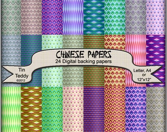 Chinese Printable Digital Papers - 24 Dragon Scale Backgrounds - for Scrapbooking, Birthday Card, Teabag Folding, Origami  and much more