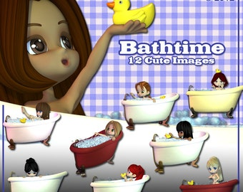 Bathtime Digital Clip Art for Card Making, Scrapbooking, Decoupage and Much More 12 Images Instant Download