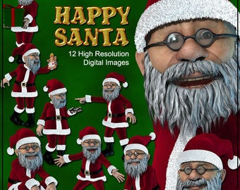 Happy Santa Clip Art Digital - 12 Printable pictures of Santa Claus or Father Christmas -  Instant Download Santa Claus Clip Art