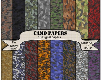 Camo Paper 16 Camouflage Paper Digital Backgrounds for  Scrapbooks Card Making Military Paper Wrapping Instant Download Camo Printable