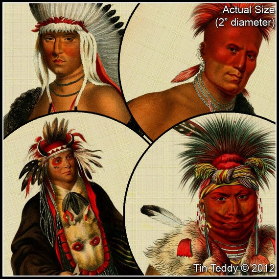 Native American Chiefs - 2 Inch Circles / Cupcake Toppers Mirrors etc - Printable Vintage Digital Collage Sheet