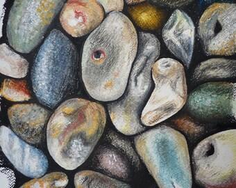 Beach Hues - Pebbles Oil Pastel Drawing - Beach / Seaside Fine Art Print
