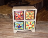 Ceramic Drawers - Handcraftet with 4 handpainted drawers