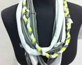 Handmade T shirt necklace (white, grey w/ white stirpes and yellow)