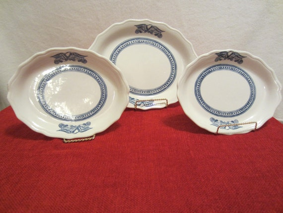 Vintage Syracuse China Restaurant Ware Blue Bald Eagle Pattern Oval Platter Americana 1930s 3 Pieces 1 platter and 2 Plates