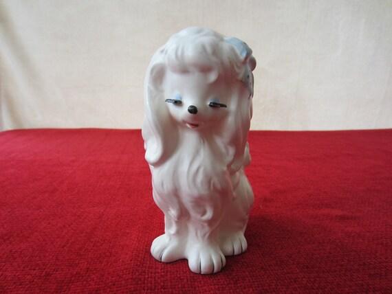 Fluffy White Dog Doggy Puppy Planter Extended Eyelashes Vintage Ceramic Blue Ribbon Very Cute Dog