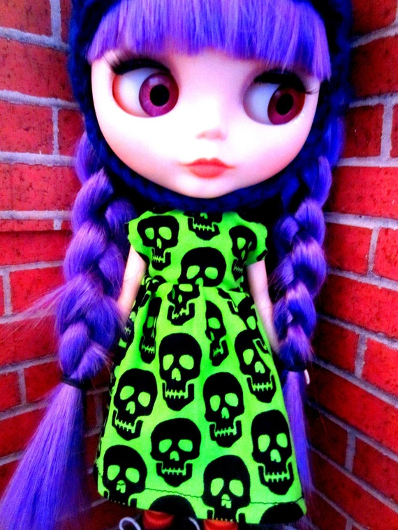 Electric Green and Black Skull Dress for Blythe or Dal