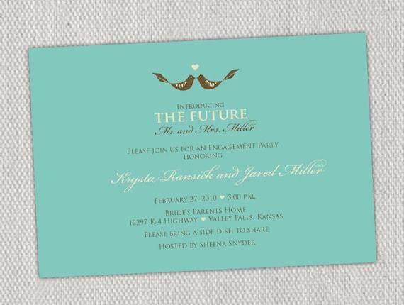 Love Birds Turquoise Bridal Shower Invitation
