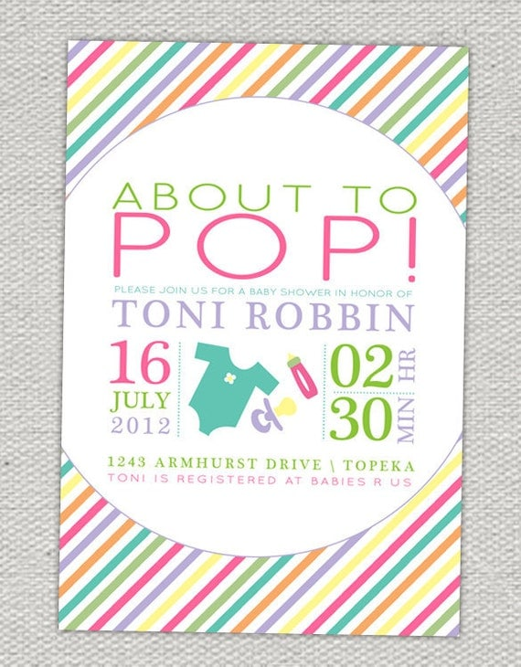 About to Pop Baby Shower Invitation // Turquoise, Lime, Hot Pink, Purple