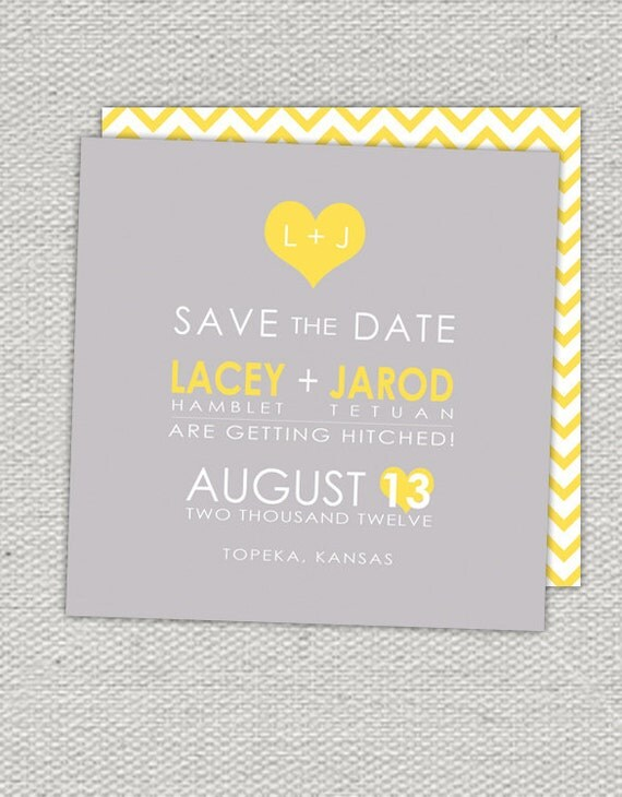 Grey & Yellow Chevron Modern Double Sided Save the Date // Initials in Heart