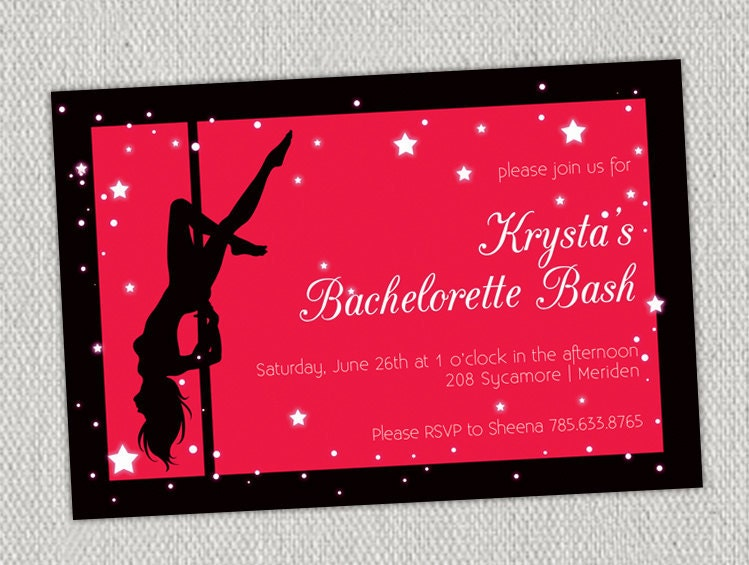 Pole Dancer Bachelorette Invitation with Star Hot Pink – Pole Party Invitations