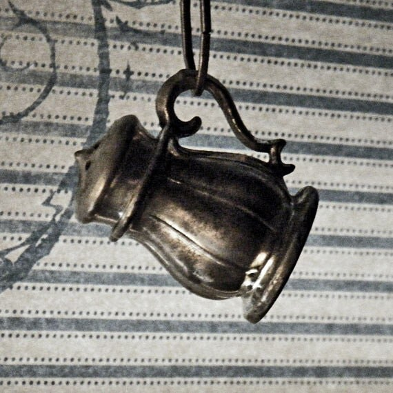 SEASONED - Steampunk Mini Vintage Pewter Salt Pepper Shaker Mens, Womens Repurposed Necklace