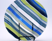 Blue, Lime Green and Clear Stripes Fused Glass Bowl