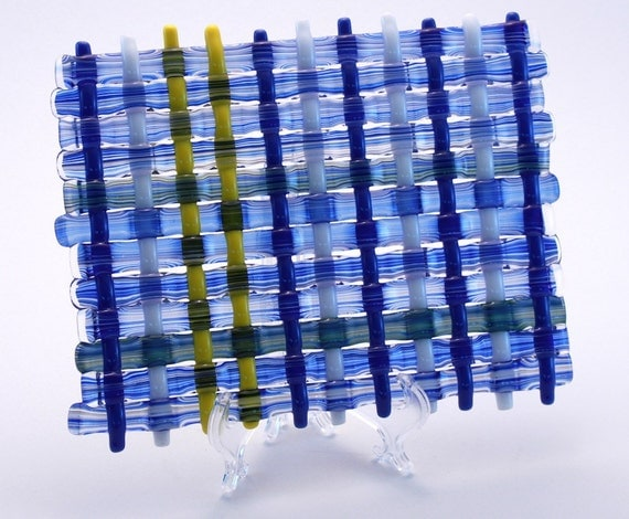 Blue, White and Yellow Woven Glass Trivet