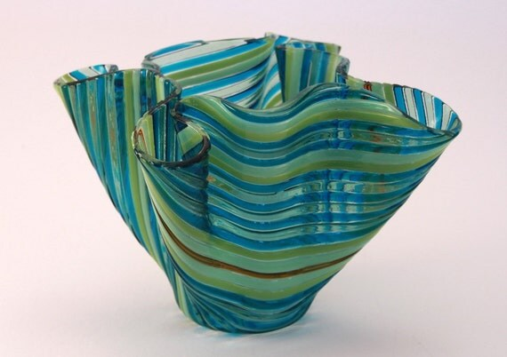 Deep Aqua, Sea Green, Lime Green, Pastel Green and Amber Fused Glass Vase