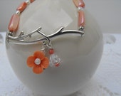SALE 15 percent off - use coupon   TWIG bracelet beaded silver, toggle, freshwater pearls, branch, flower dangles,peach bracelet