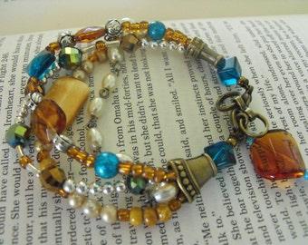 Multistrand Bracelet, chunky amber turquoise