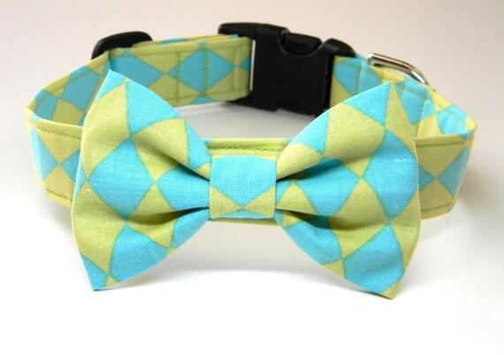 Dog Collar Bow Tie Set: Teal and Mint Green Diamond... Pet Collar, Aqua, Green