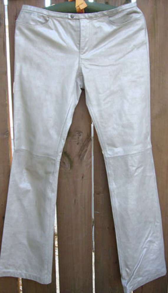 Women's Silver Leather Pants - Bootcut Size 6