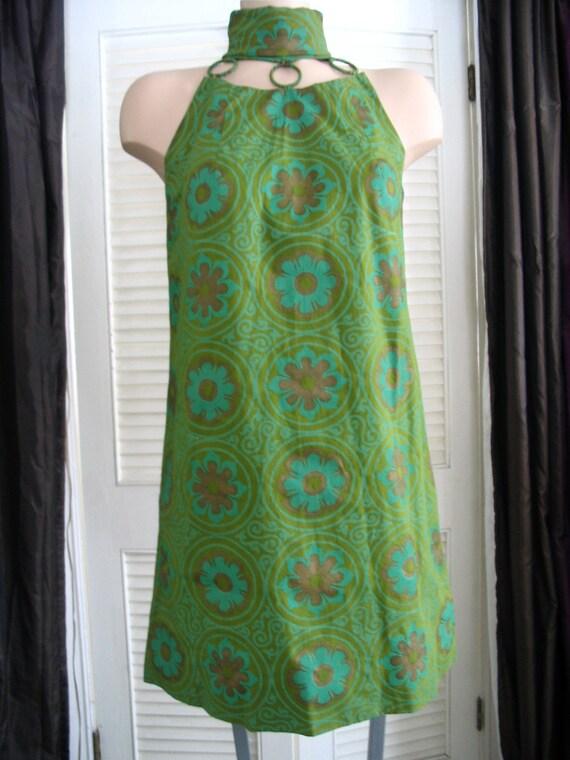1960s, 70s Groovy Hawaiian Metallic Bronze Flower Green Print Mini Dress