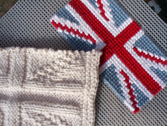 Knitting Pattern For Union Jack Blanket : Items similar to 2 Union Jack PDF knitting pattern charts, sewing pattern, cr...