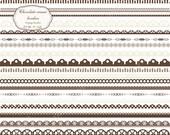 Chocolate & cream digital scalloped borders clip art set - 23 brown printable clipart borders - instant download