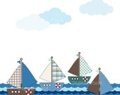 Sailboat Clip Art Set - green, blue, brown nautical printable digital clipart - instant download